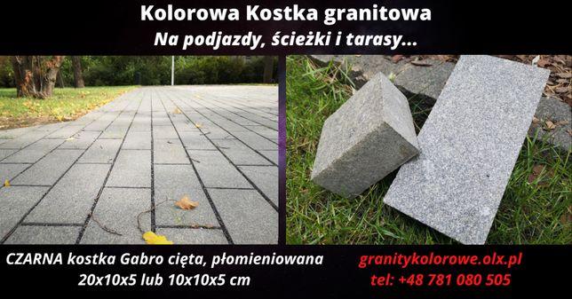 Kostka Brukowa Granitowa CZARNA cięta - 20x10x5, 10x10x5 cm WYPRZEDAŻ