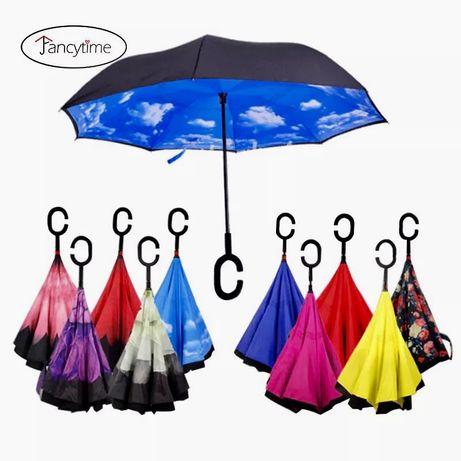 Зонтик полуавтомат umbrella Уникальный зонт обратного сложения