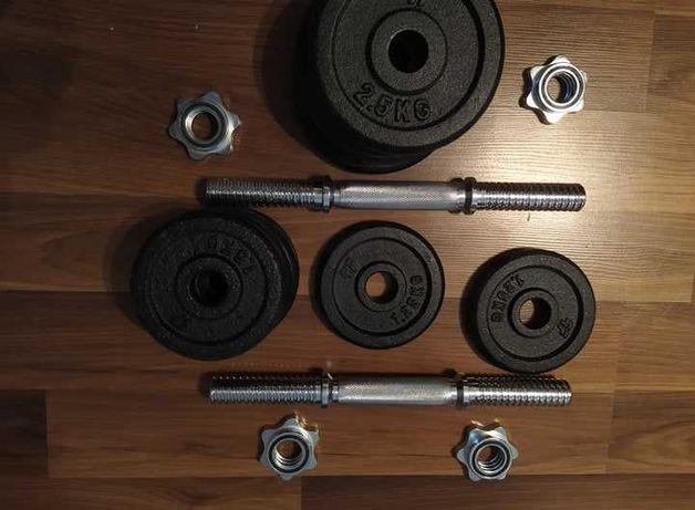 Hantle żeliwne 2x 11,25kg. 22,5kg łącznej wagi