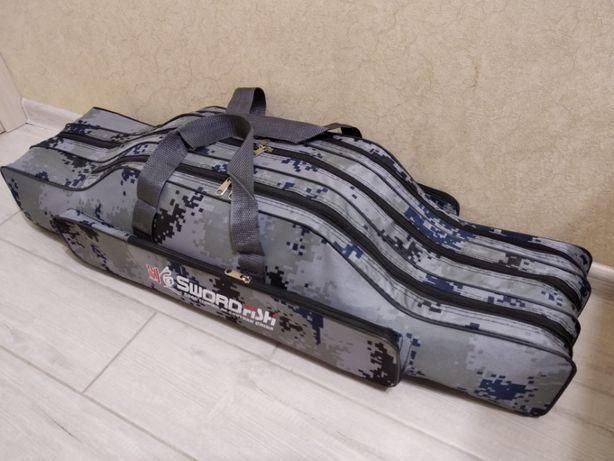 Чехол сумка для удилищ удочек под катушки 90 см на 3 секции
