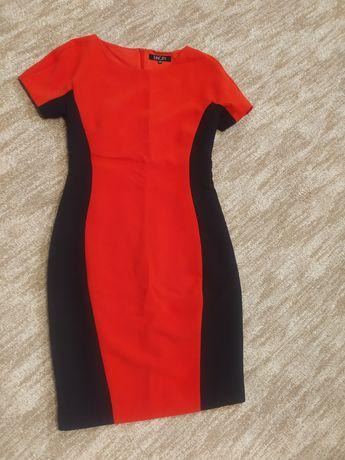 Офисное красное платье