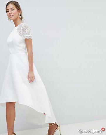 Suknia ślubna asos asymetryczna tanio