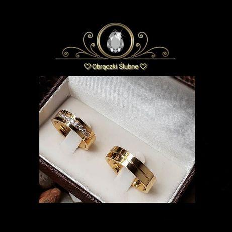 Komplet Eleganckich Olśniewających Złotych Obrączek Ślubnych