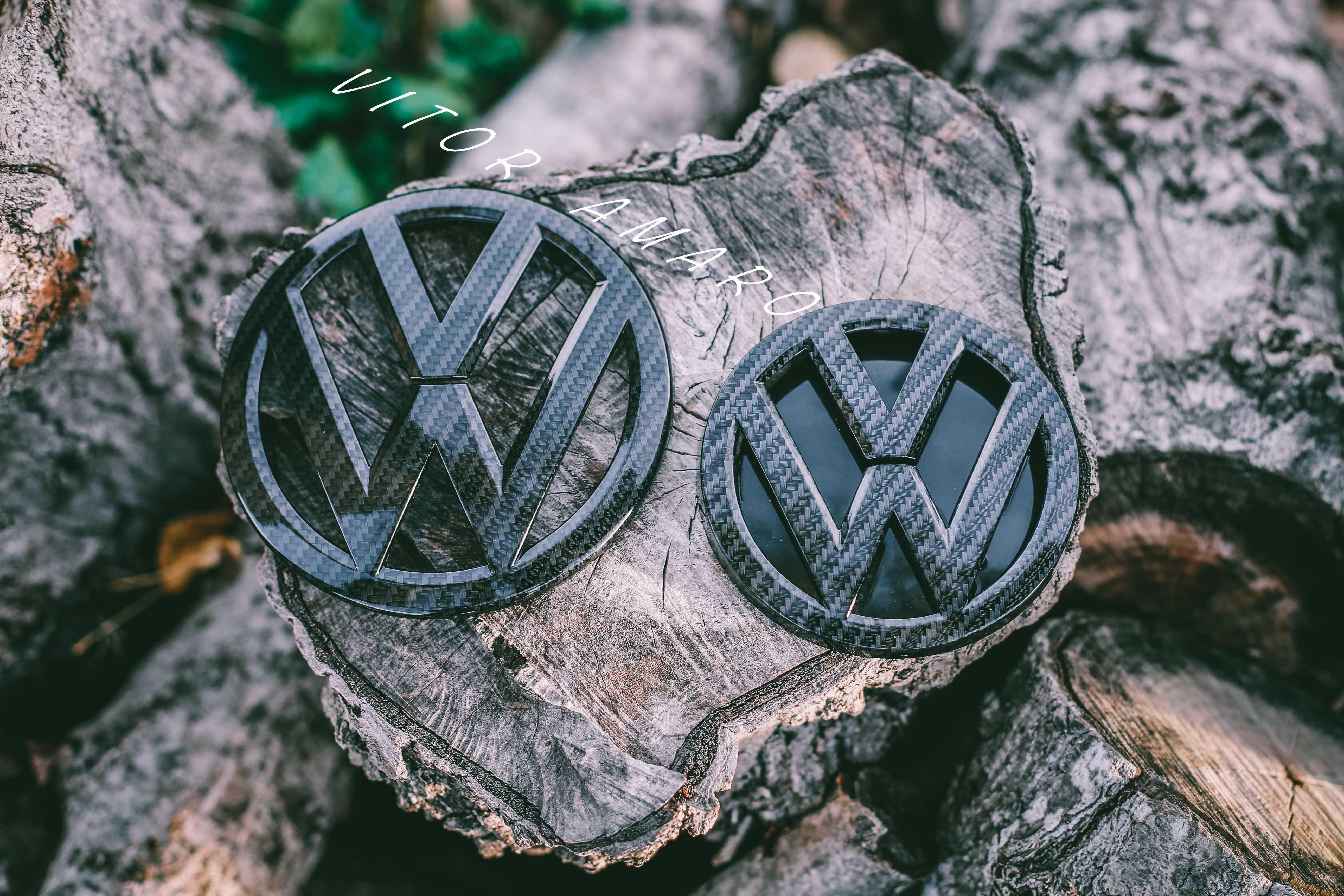 2 Símbolos/Logos Mala/Capot Look Carbono(Volkswagen Golf MK7, GTI, R)
