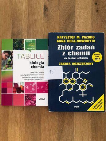 Zbiór zadań z chemii Pazdro i tablice biologia chemia