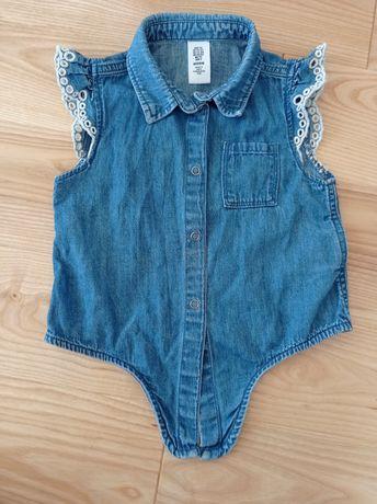 Kamizelka jeansowa bluzka H&M r 92