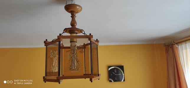 Żyrandol lampa wisząca szklany drewno szkło stan bardzo dobry E27