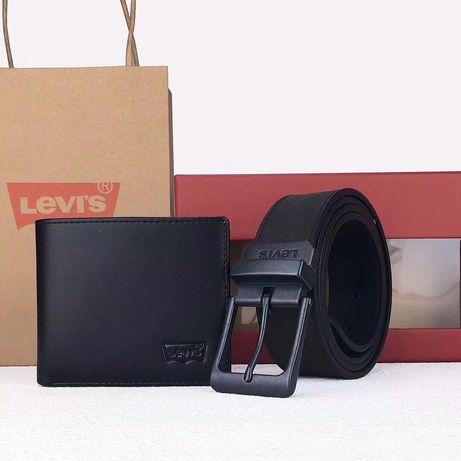 ХИТ|Мужской оригинальный подарочный набор Levi's Кошелек и ремень кожа