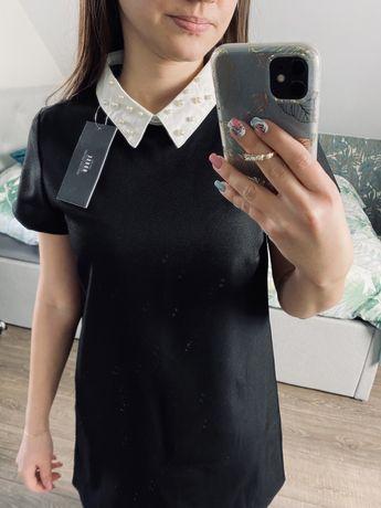 Elegancka czarna sukienka z kołnierzykiem House xs