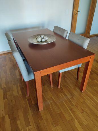 Conjunto mesa + cadeiras e espelho em cerejeira.