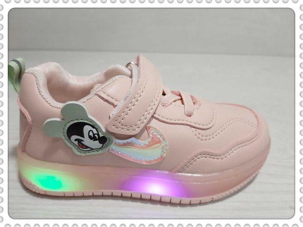 Новинка Стильные девичьи кроссовки светящиеся р.21 -26 розовые