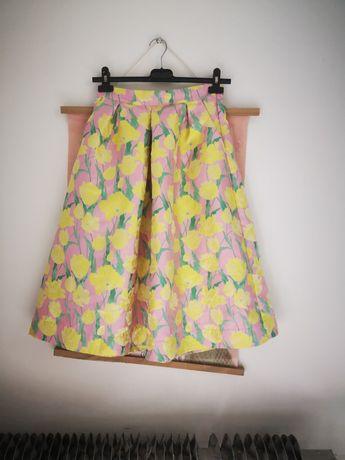 Spódnica rozkloszowana xs 34 bik bok kwiaty pastelowa floral