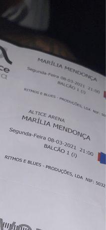 VENDO 2 BILHETES Marília Mendonça 2021 Lisboa data 29/11/2021
