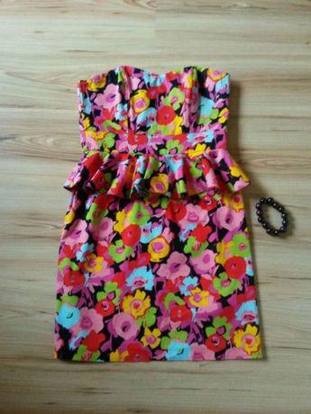 Sukienka z baskinką 38 + bransoletka
