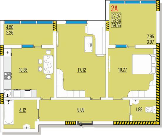 Ак. Глушко, Одесса, продам 2к квартиру 4 эт. 59,56 м. от застройщика.