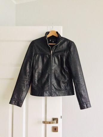 damska czarna klasyczna kurtka skórzana ze skóry naturalnej
