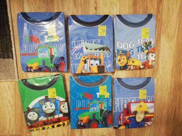 Piżama chłopieca r. 122 długi rękaw traktor, koparka, psi patrol