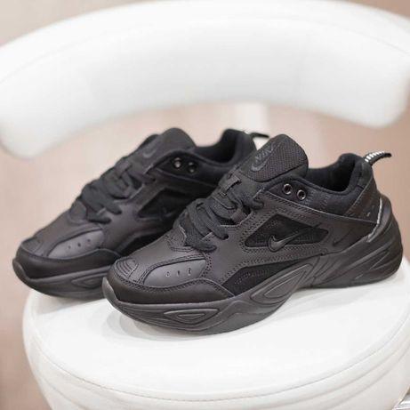 4189 Nike M2 Tekno черные кожа+текстиль кроссовки женские найк текно