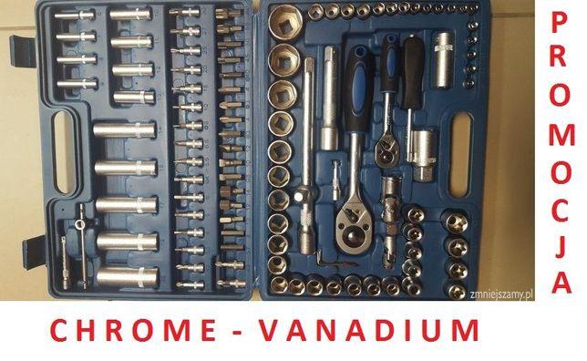 Zestaw kluczy klucze nasadowe 108 el SUPER JAKOŚĆ chrom-vanad. FOTY 3D