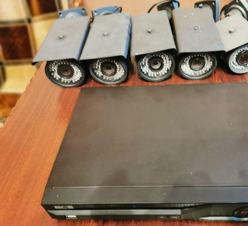 Zestaw do monitoringu, rejestrator BCS 4-ro kanałowy+5 kamer