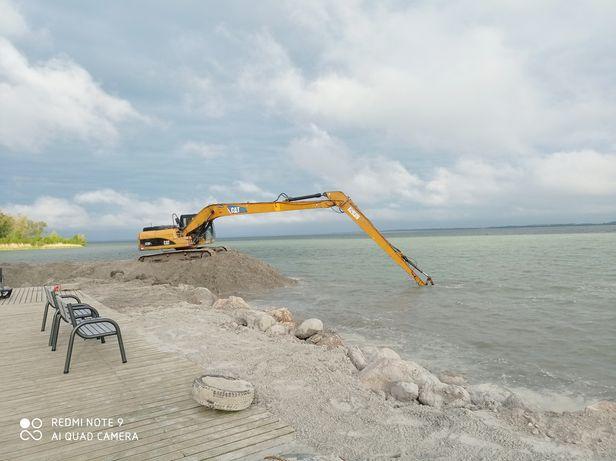 Wykopy stawy odmulanie  prace ziemne koparka long plaże linię brzegowe