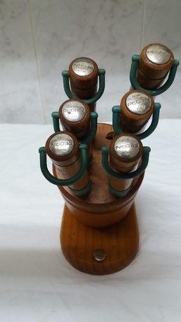 Bloco com 6 facas inox, cabo de madeira, marca Pedrini, novo