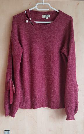 Bordowe sweter z wełna bufiaste rękawy
