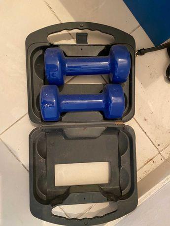 halteres em caixa 3kg azuis
