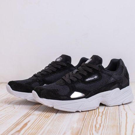 4092 Adidas Falcon черные кроссовки женские адидас фалкон кеды кросовк