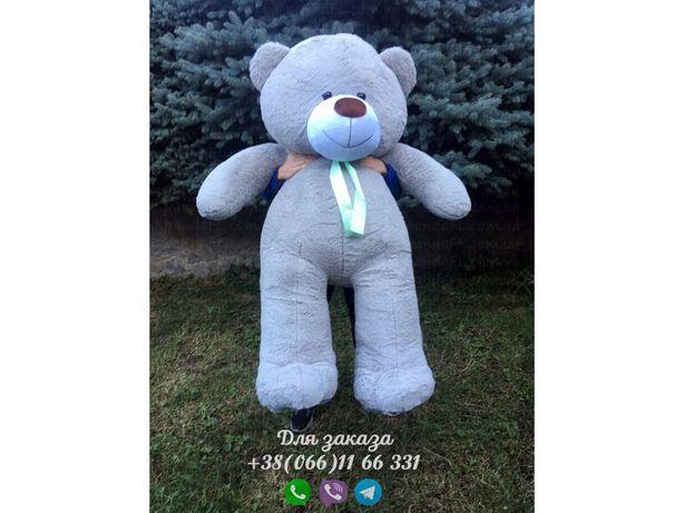 Мишка 200 см серый, плюшевый мишка 2 метра, медведь 2 метра