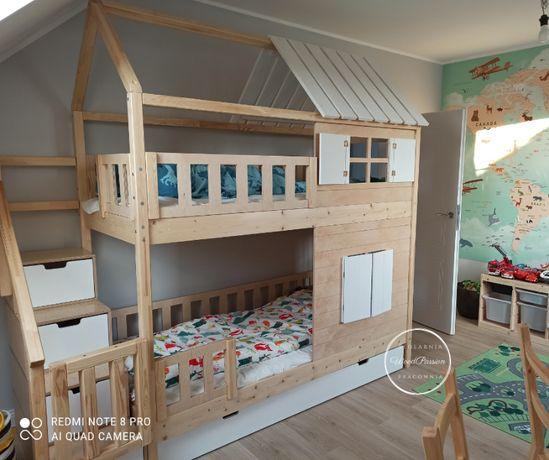 Łóżko piętrowe domek z dachem do połowy