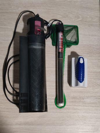 Zastaw akcesoriów akwarystycznych, filtr, grzałka, czyścik magnetyczny