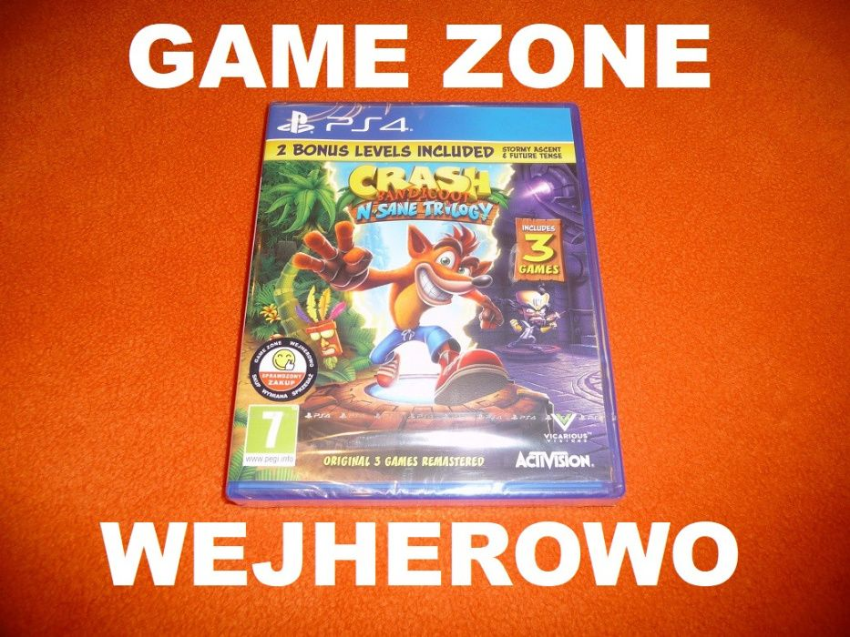 Crash Bandicoot N Sane Trilogy PS4 + Slim + Pro = Wejherowo = 3 gry ! Wejherowo - image 1