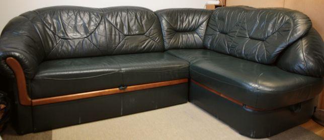 Komplet: narożnik (rozkładany na łóżko) i fotel z naturalnej skóry