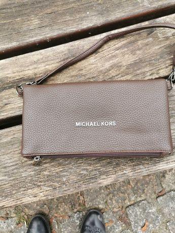 Michael Kors, czekoladowa listonoszka, kopertówka, nerka, crossbody.