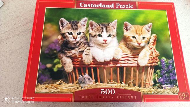 3 pudełka Puzzli każde po 500szt,Castorland,Tlefl