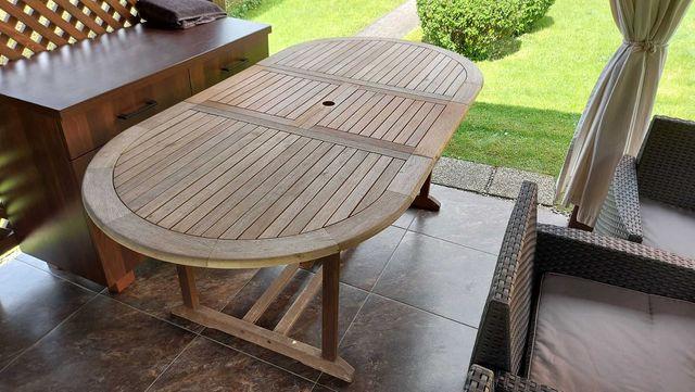 Stół ogrodowy drewniany - rozkładany - DUŻY