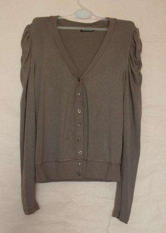 Brązowy delikatny sweterek sweter rozpinany M