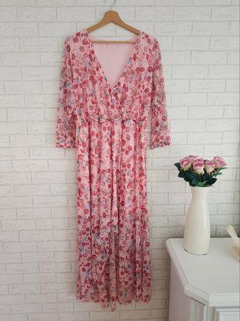 Pudrowy róż sukienka w kwiatki roz 48 4XL Asos