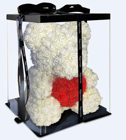 Мишка из роз 30см в подарочной коробке / Мишка из цветов / Мыло