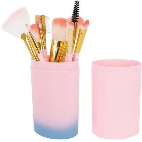 Pędzle do makijażu 12 szt czarne/różowe