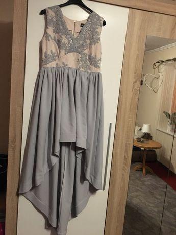 Sukienka na studniówkę wesele długa jaskółka tren