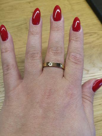 Obrączka pierścionek a'la Cartier złoty pozłacana stal szlachetna 316l
