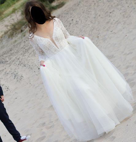 suknia ślubna koronkowa góra Agnes boho