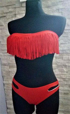 nowy dwu czesciowy strój kąpielowy czerwony troczki rozm M