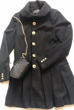 Пальто женское черное демисезонное весна осень в складки плиссе