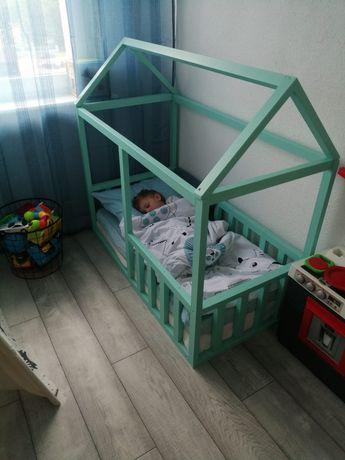 Łóżeczko łóżko Domek turkus