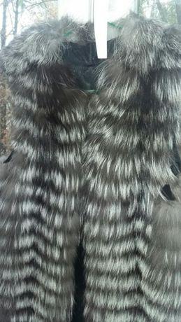 Роскошный жилет из чернобурки. Меховая жилетка их чернобурки.