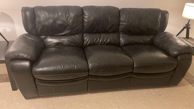 Sofá reclinável preto napa/imitação de pele