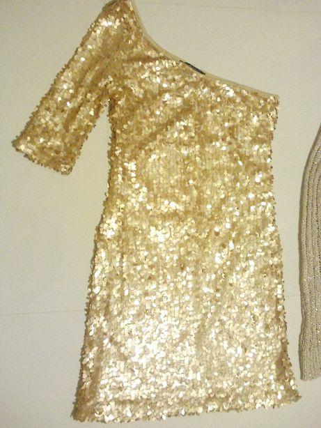 sukienka, tunkia delikatnie połyskująca na sylwestra + gratis sweter